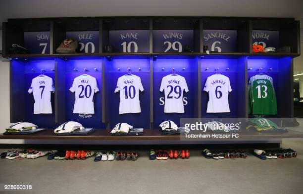 Shirts on display in the Spurs dressing room prior to the UEFA Champions League Round of 16 Second Leg match between Tottenham Hotspur and Juventus...