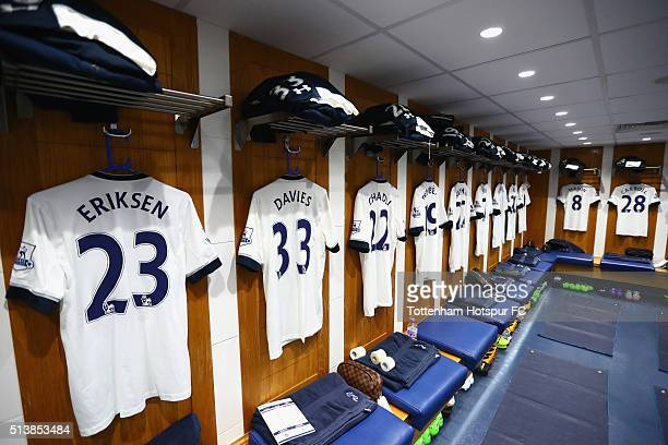 Shirts on display in the Tottenham Hotspur changing room prior to the Barclays Premier League match between Tottenham Hotspur and Arsenal at White...