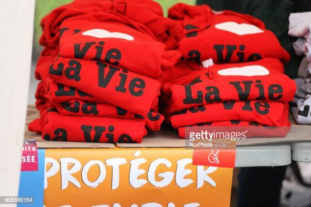 Shirts reading Marche pour la Vie are seen in Paris on January 21 during a March for life demonstration against abortion assisted reproduction and...