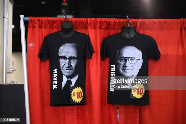 Shirts with the images of Milton Friedman and Friedrich Hayek are for sale inside the Conservative Political Action Conference Hub at the Gaylord...
