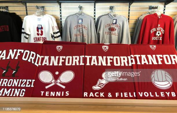 Shirts with the Stanford University logo are displayed at the Stanford Athletics Shop on March 12, 2019 in Stanford, California. More than 40 people,...