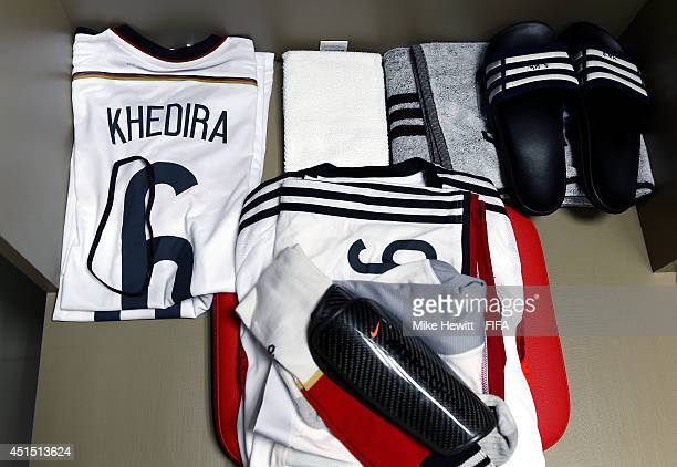 Shirts worn by Sami Khedira of Germany are displayed in the dressing room prior to the 2014 FIFA World Cup Brazil Round of 16 match between Germany...