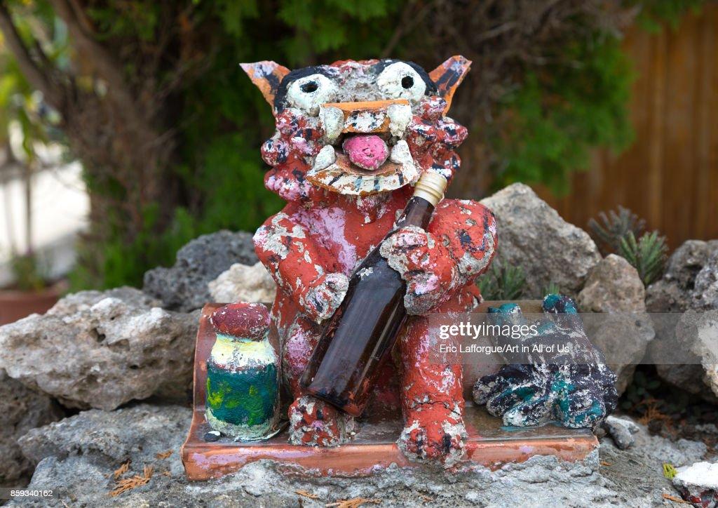 Shisa lion statue to protect the house from the bad spirits, Yaeyama Islands, Taketomi island, Japan... : News Photo