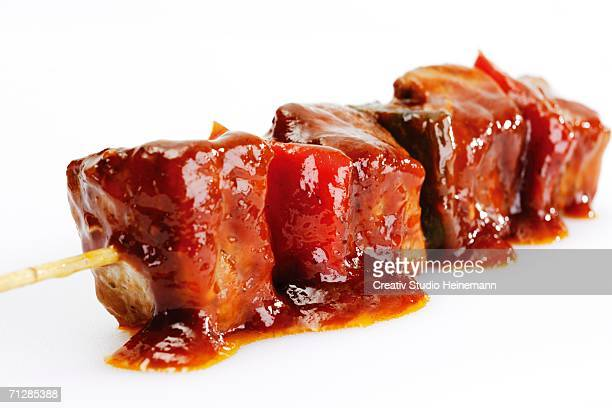 shish kebab, close-up - barbeque sauce stock photos and pictures