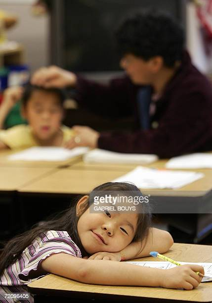 An Eskimo young girl is at school in Shishmaref 27 September 2006 Shishmaref a small village on an island NorthWest of Alaska built on a permafrost...
