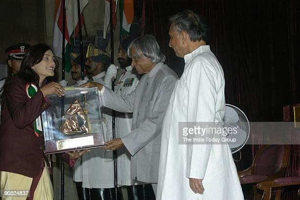 Shital Kamalakar Mahajan Receiving the Tenzing Norgay National Adventure Award from APJ Abdul Kalam President of India at Sports and Adventure...