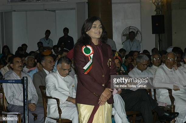 Shital Kamalakar Mahajan winners of the Tenzing Norgay National Adventure Award at Sports and Adventure Awards2005 function in New Delhi India