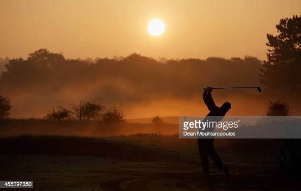Shiv Kapur of India hits a shot on the driving range during Day 2 of the KLM Open held at De Kennemer Golf and Country Club on September 12 2014 in...