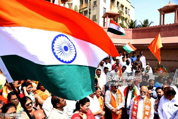 Shiv Sena and BJP workers celebrate Indian Air force attack on POK at Shivaji Chowk Vashi on February 26 2019 in Navi Mumbai India Indian forces...