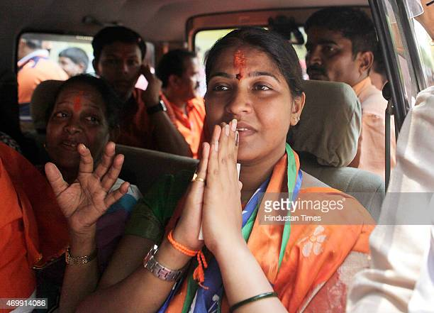Shiv Sena candidate Trupti Sawant after the winning bypoll results at Bandra on April 15 2015 in Mumbai India Shiv Sena candidate Trupti Sawant widow...