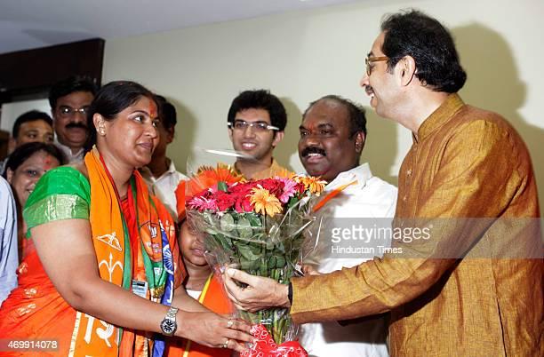 Shiv Sena candidate Trupti Sawant along with Shiv Sena Chief Uddhav Thackeray at Matoshree after the winning bypoll results at Bandra on April 15...