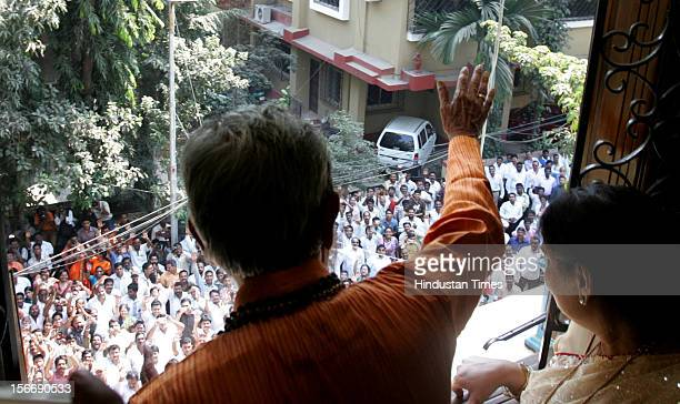 Shiv Sena chief Balasaheb Thackeray acknowledges to his supporters on his 83th birthday at his residence Matoshri in Bandra on January 23 2010 in...