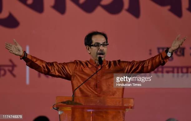Shiv Sena chief Uddhav Thackarey addresses a Dussehra rally at Shivaji Park on October 8 2019 in Mumbai India