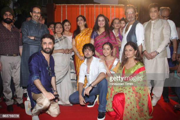 Shiv Sena Chief Uddhav Thackeray singer Asha Bhosale Rashmi Thackeray actors Padmini Kolhapure Shraddha Kapoor Siddhanth Kapoor Jeetendra and Shakti...