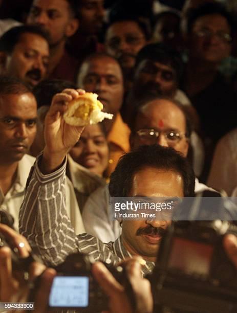 Shiv Sena executive president Uddhav Thackeray at the launching of the Shiv Vada pav project at Shivaji park on Monday