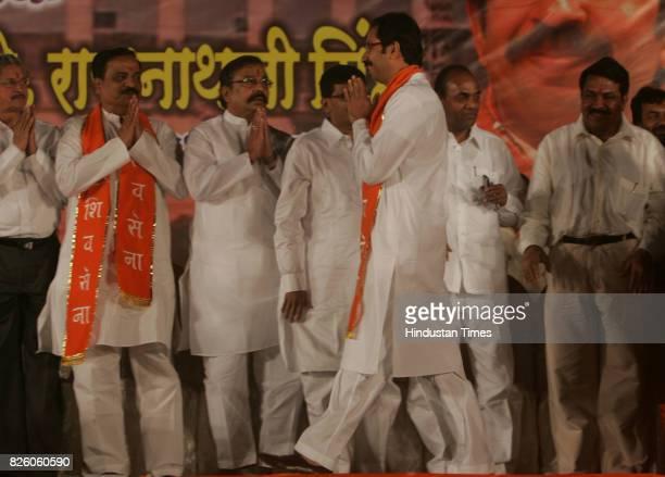 Shiv Sena executive president Uddhav Thackeray has been greeted by sena leaders Subhash Desai Divakar Rawte candidate from Mumbai North West Gajanan...