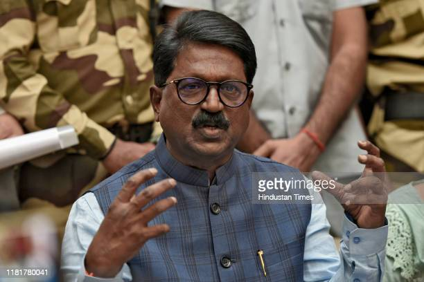 Shiv Sena Member of Parliament Arvind Sawant addresses a press conference after his resignation from the cabinet at Maharashtra Sadan on November 11...