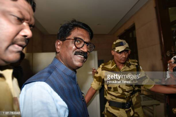 Shiv Sena Member of Parliament Arvind Sawant arrives to address a press conference after his resignation from the cabinet at Maharashtra Sadan on...
