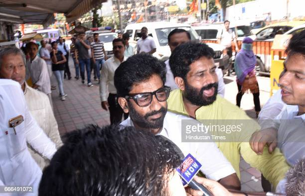 Shiv Sena MP Ravindra Gaikwad outside Shiv Sena Bhavan on April 8 2017 in Mumbai India Gaikwad expressed regret for his alleged assault of a senior...