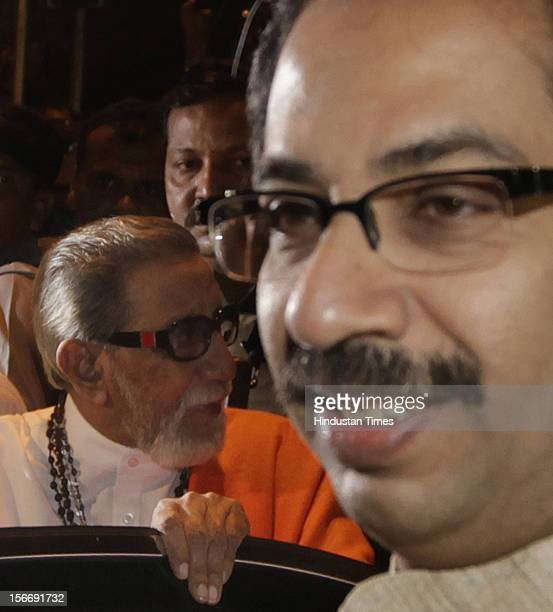 Shiv Sena supremo Balasaheb Thackeray and Executive President Uddhav Thackeray visit Hutatma Chowk to pay tribute May 1 2012 in Mumbai India