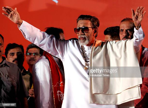 Shiv Sena supremo Balasaheb Thackeray opens the campaign of the BMC polls for the party at Goregaon on December 27 2006 in Mumbai India For the first...