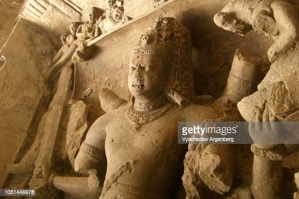 shiva image, elephanta caves, india - argenberg stock pictures, royalty-free photos & images
