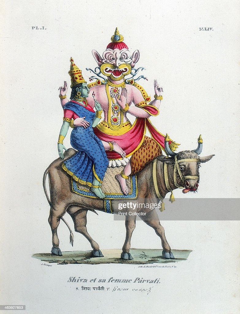 Shiva, one of the gods of the Hindu trinity (trimurti) with his consort Parvati, c19th century. Artist: A Geringer : News Photo