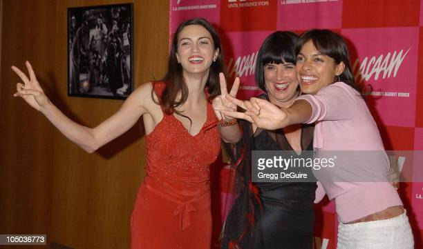 Shiva Rose Eve Ensler and Rosario Dawson during VDay LA 2003 at The Directors Guild Theatre in Los Angeles California United States