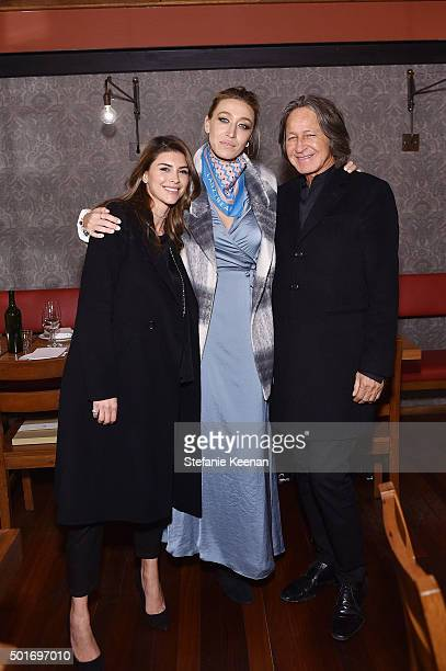 Shiva Safai Alana Hadid and Mohamed Hadid attend Alana Hadid x Lou Grey Celebrate Collaboration With Friends And Family In Los Angeles at Republique...