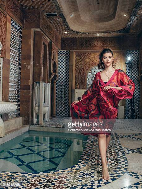 Shiva Safai fiancée to real estate developer Mohamed Hadid is photographed at his Le Belvedere mansion for Paris Match on January 14 2016 in Los...