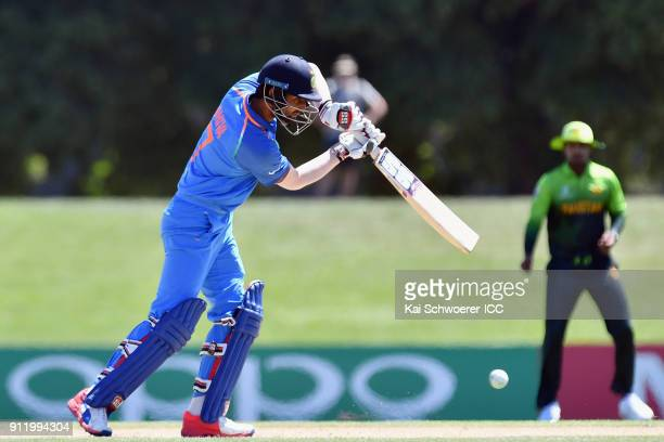 Shiva Singh of India bats during the ICC U19 Cricket World Cup Semi Final match between Pakistan and India at Hagley Oval on January 30 2018 in...