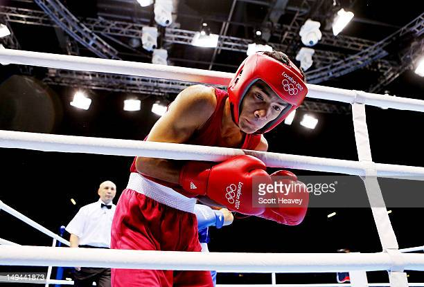Shiva Thapa of India during his Men's Bantam Weight bout with Oscar Valdez Fierro of Mexico on Day 1 of the London 2012 Olympic Games at ExCeL on...