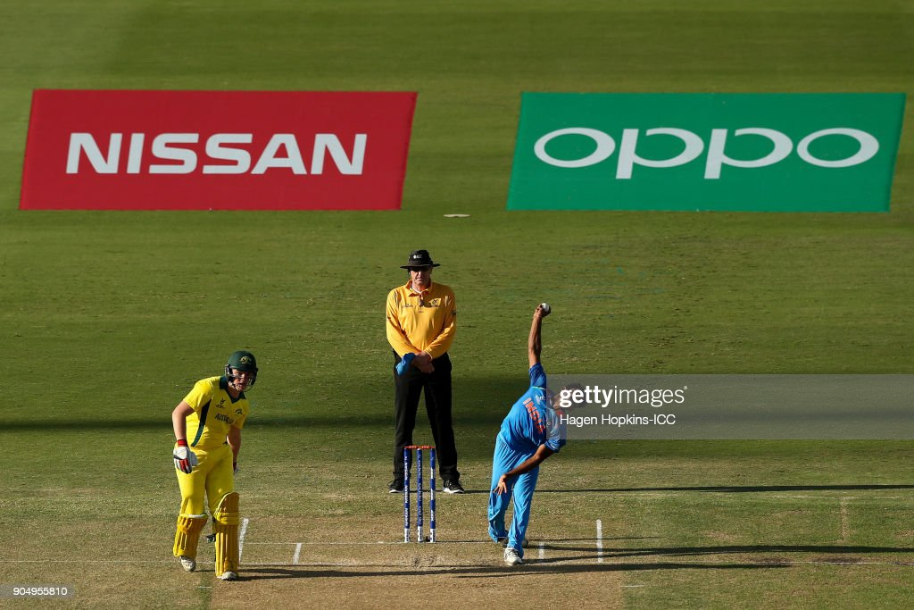 Shivam Mavi of India bowls while Max Bryant of Australia looks on during the ICC U19 Cricket World Cup match between India and Australia at Bay Oval on January 14, 2018 in Tauranga, New Zealand.