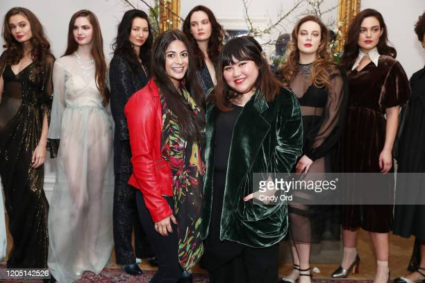 Shivani Honwad and Jasmine Chong pose with models after the Jasmine Chong runway show during New York Fashion Week on February 09 2020 in New York...