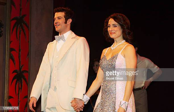 AJ Shively and Elena Shaddow during the curtain call at Kelsey Grammer Douglas Hodge Robin De Jesus Fred Applegate's final performance in La Cage Aux...