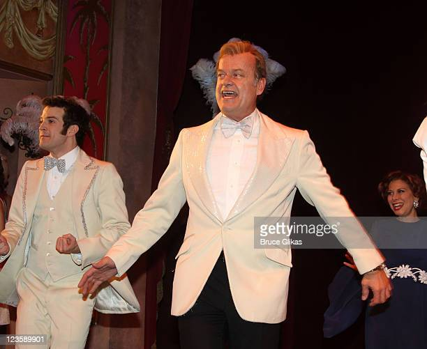 AJ Shively and Kelsey Grammer during the curtain call at Kelsey Grammer Douglas Hodge Robin De Jesus Fred Applegate's final performance in 'La Cage...