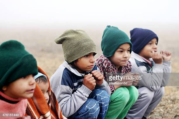 Shivering Children in Winter Season