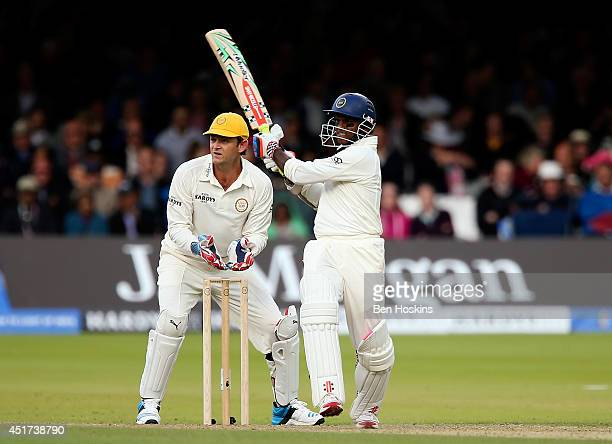 Shivnarine Chanderpaul of Rest of the World bats ahead of Adam Gilchrist of MCC during the MCC and Rest of the World match at Lord's Cricket Ground...