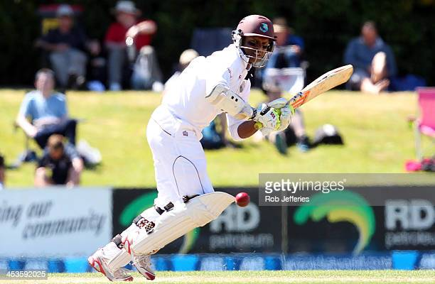 Shivnarine Chanderpaul of the West Indies bats during day three of the first test match between New Zealand and the West Indies at University Oval on...