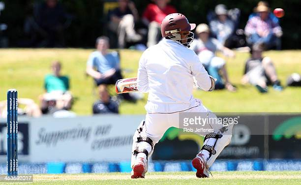 Shivnarine Chanderpaul of the West Indies ducks under a bouncer during day three of the first test match between New Zealand and the West Indies at...