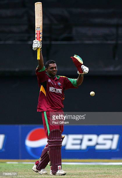 Shivnarine Chanderpaul of West Indies celebrates making a century during the ICC Cricket World Cup 2007 Group D match between Ireland and West Indies...