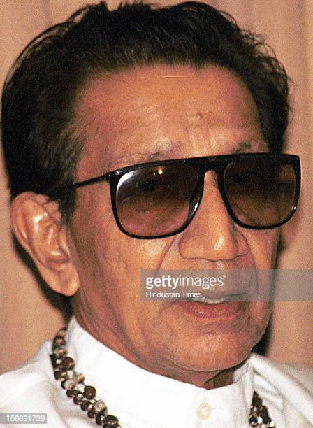 Shivsena Chief Balasaheb Thackeray attends the press conference on June 10 2002 in Mumbai India