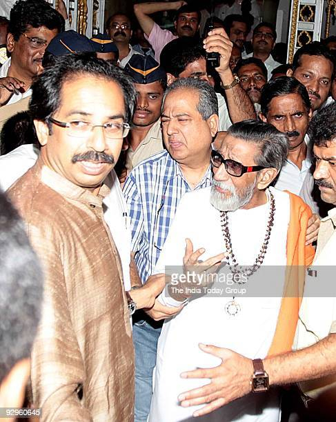 Shivsena president Balasaheb Thackeray along with Executive president Uddhav Thackeray outside Sena Bhavan before addressing to the newly elected...
