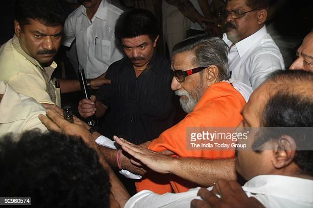 Shivsena president Balasaheb Thackeray outside Sena Bhavan before addressing to the newly elected party MLAs on Thursday