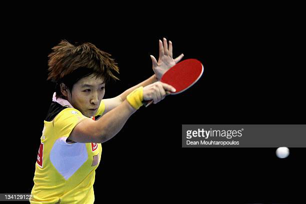 Shiwen Liu of China in action against Ning Ding of China during the Womens Singles Final match during day three of the ITTF Pro Tour Table Tennis...