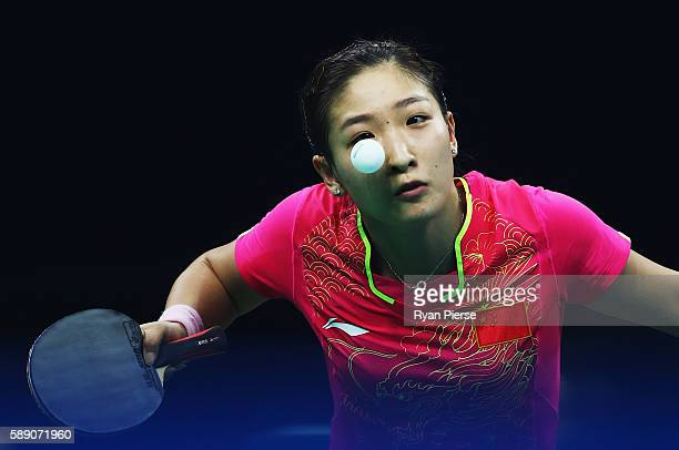 Shiwen Liu of China of China serves during the Table Tennis Women's Team Quarter Final Match between China and Democratic People's Republic of Korea...