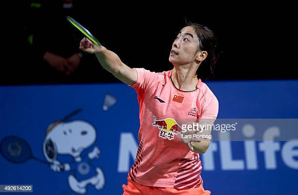 Shixian of China in action during Day Two at the MetLife BWF World Superseries Premier Yonex Denmark Open Badminton at Odense Idratshal on October 14...