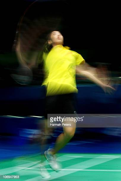 Shixian Wang of China competes in the Women's Badminton Singles Quarterfinal Match against Ai Goto ofJapan during day six of the 16th Asian Games...