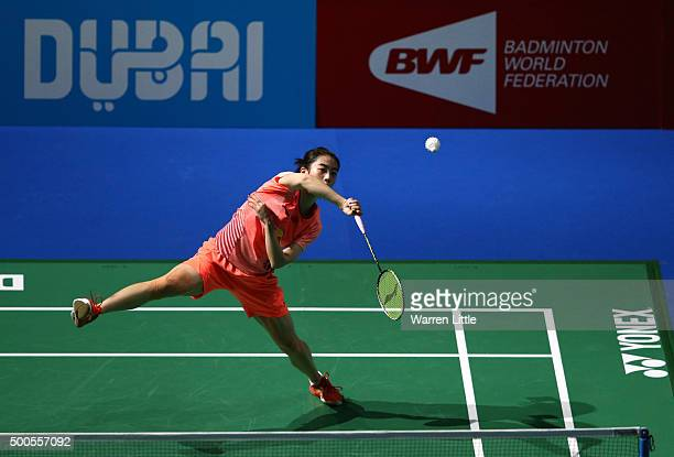 Shixian Wang of China in action against Yihan Wang of China in the Women's Singles match during day one of the BWF Dubai World Superseries 2015...