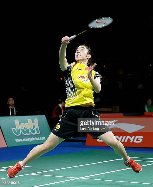 Shixian Wang of China in action during the LiNing BWF World Badminton Championships at Ballerup Super Arena on August 27 2014 in Copenhagen Denmark
